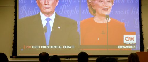 The CNN feed that was viewed by students kept a tightly focused view on both candidates throughout the debate. Photo by George Foulsham