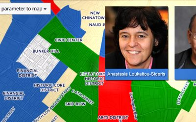 A screenshot of the gentrification mapping tool created by UCLA Luskin Urban Planning professors Anastasia Loukaitou-Sideris and Paul Ong.
