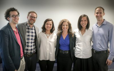 From left, the new UCLA Luskin faculty are Zachary Steinert-Threlkeld, Darin Christensen, Leila Karimli, Laura Wray-Lake, Kian Goh and Michael Manville. Photo by Les Dunseith