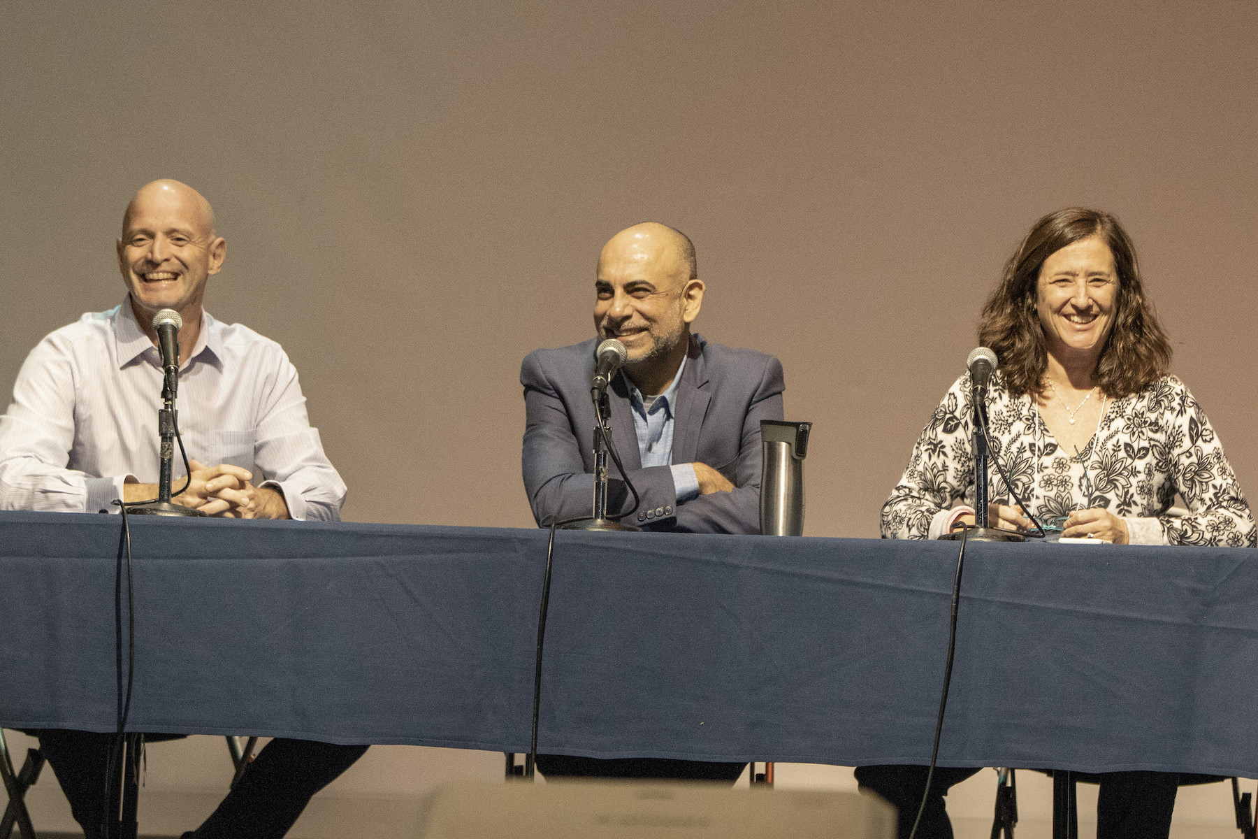 UCLA Luskin chairs, from left, JR DeShazo of Public Policy, Vinit Mukhija of Urban Planning and Laura Abrams of Social Welfare. Photo by Mary Braswell