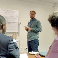 UCLA Luskin Assistant Professor Darin Christensen at a PRG workshop in Accra, Ghana.