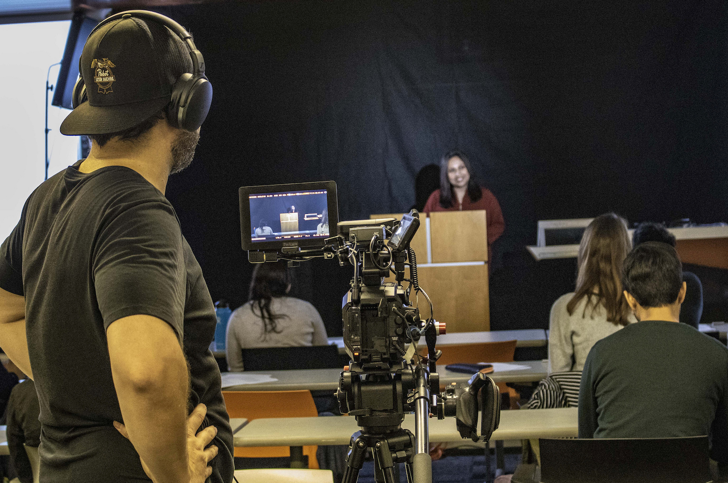 Videographers record the course, which will be made available worldwide for online study. Photo by Mary Braswell