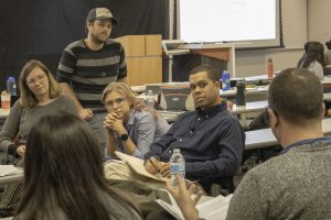 Micah White, center, leads a discussion about how to think like a critical activist. Photo by Mary Braswell