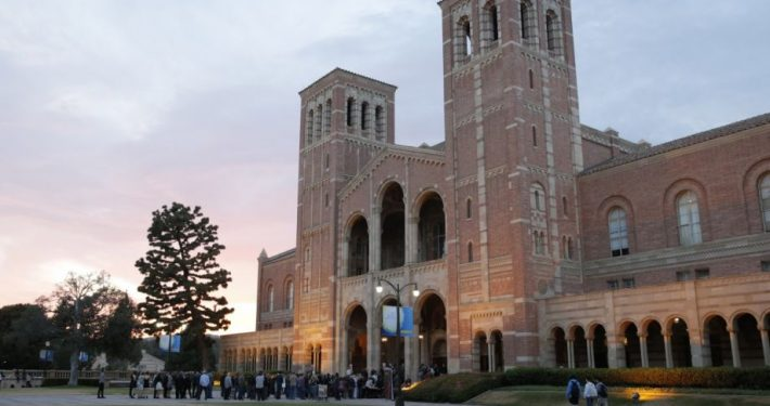 Image of Royce Hall in the early evening