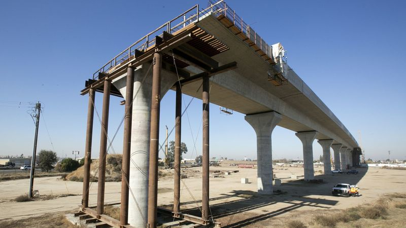 Image of high-speed rail line under construction in Fresno in 2017