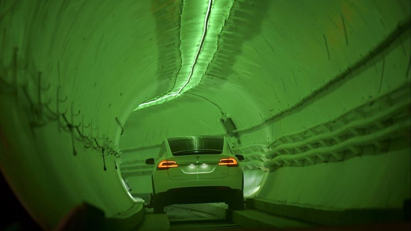 Modified Tesla X drives in Boring Co. underground tunnel in Hawthorne