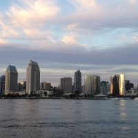 Downtown San Diego skyline pictured from Coronado Bay