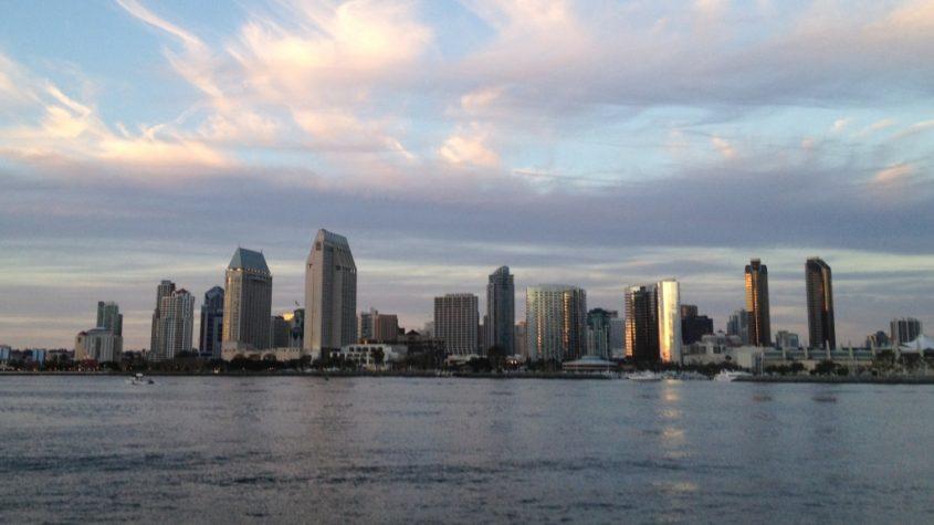 Downtown San Diego skyline pictured from Coronado Bay