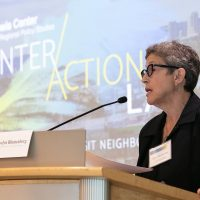 Lewis Center Director Evelyn Blumenberg at the inaugural InterActions LA event on regional growth and equity. Photo by Amy Tierney