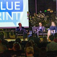 Blueprint editor Jim Newton, left, with panelists Vinit Mukhija, Christina Miller and Phil Ansell. Photo by Les Dunseith