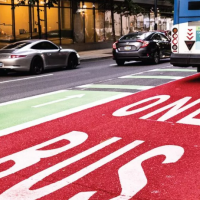 Image of bus only lane in Portland, Oregon
