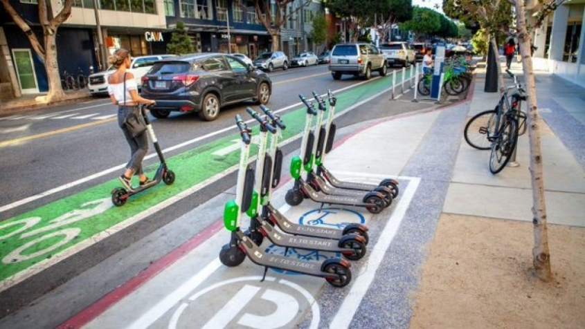 image of docked scooters in Santa Monica