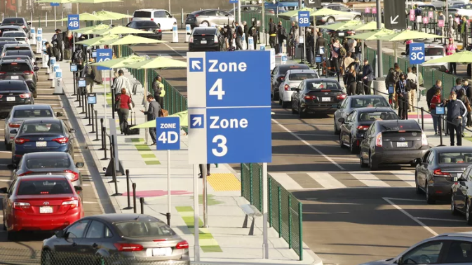 image of the ride-share lot at LAX