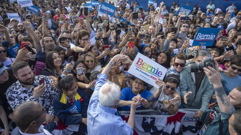photo of Bernie Sanders speaking to