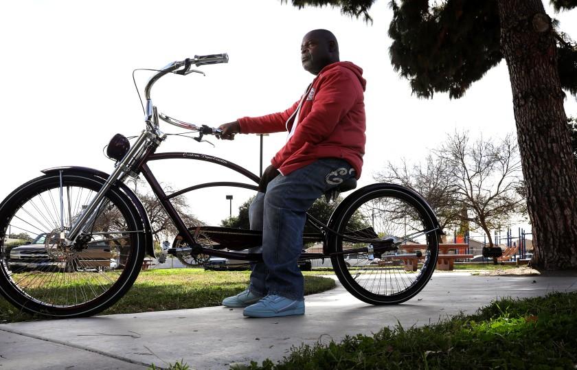 Image of Larry Sanders on a bike
